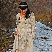 Одежда ручной работы. Ярмарка Мастеров - ручная работа БОХО платье из шерсти с вышивкой и шнуровкой (№218). Handmade.
