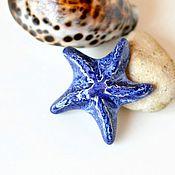 Украшения ручной работы. Ярмарка Мастеров - ручная работа Брошь керамическая Морская Звезда синяя. Handmade.