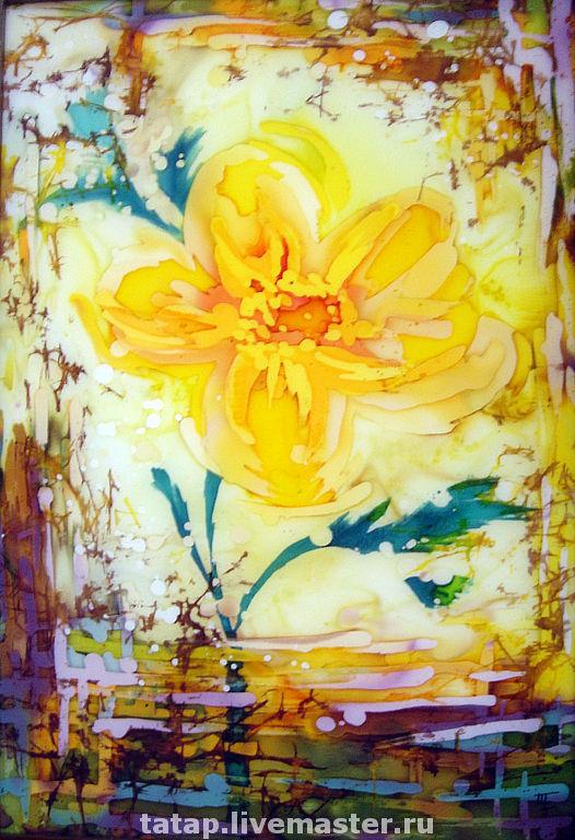Картины цветов ручной работы. Ярмарка Мастеров - ручная работа. Купить Цвет 2. Handmade. Батик, цветок, шёлк