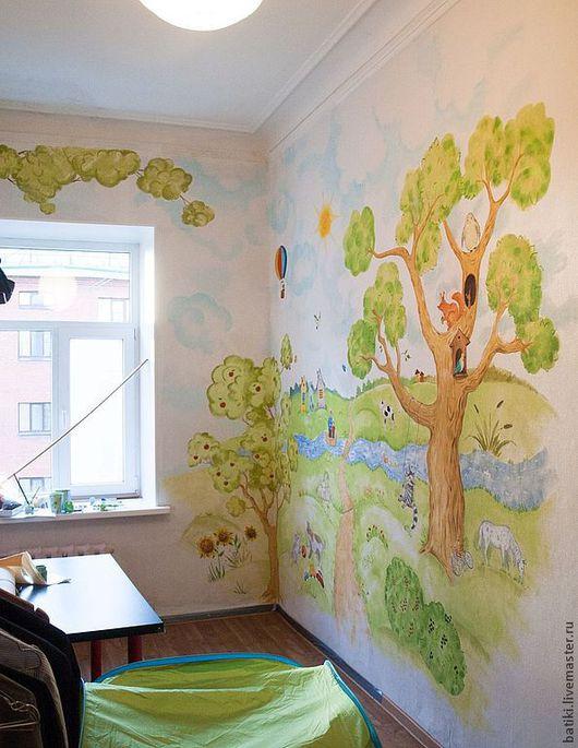 Детская ручной работы. Ярмарка Мастеров - ручная работа. Купить Роспись стен в детской комнате. Handmade. Салатовый, рисунок на заказ