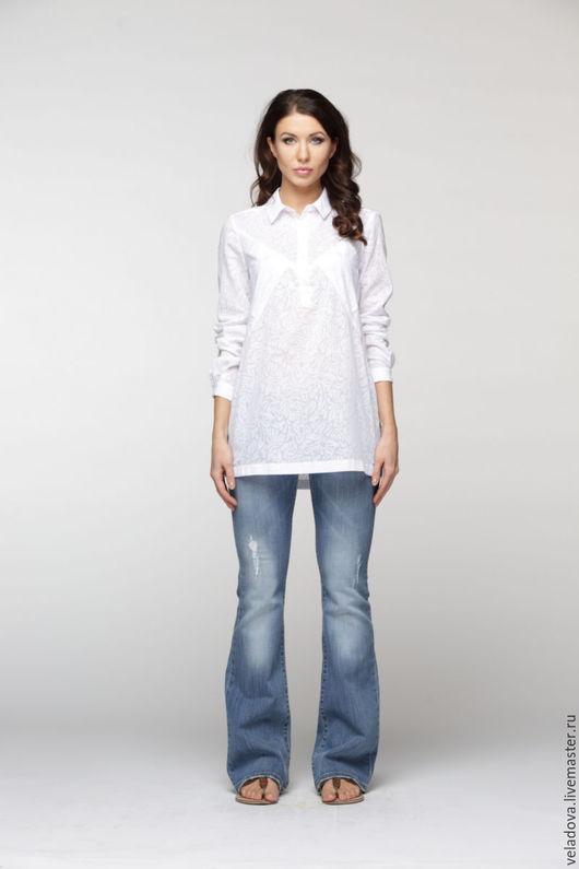 Блузки ручной работы. Ярмарка Мастеров - ручная работа. Купить Хлопковая белоснежная  блузка - рубашка. Handmade. Белый, белая блузка