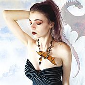 Украшения handmade. Livemaster - original item Necklace Dragon Previously, there was neither the time nor the Brown earth green. Handmade.
