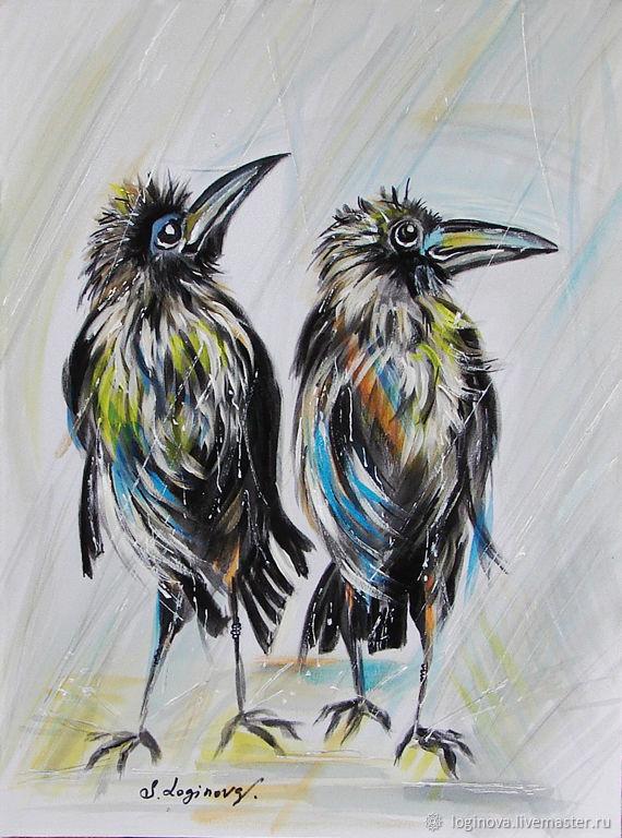Двое мокрых -картина с воронами, смешная картина в подарок, Картины, Находка,  Фото №1