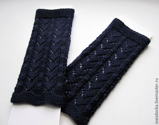 """Варежки, митенки, перчатки ручной работы. Ярмарка Мастеров - ручная работа. Купить митенки из мериноса """"Blue lace"""". Handmade."""