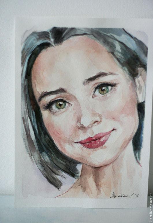 Люди, ручной работы. Ярмарка Мастеров - ручная работа. Купить Портрет девушки. Handmade. Тёмно-зелёный, портрет по фото