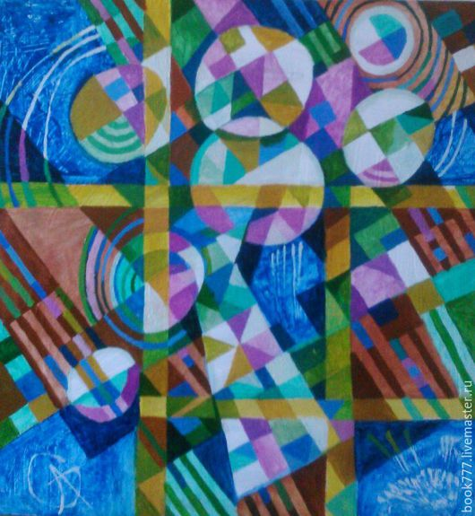 Картины цветов ручной работы. Ярмарка Мастеров - ручная работа. Купить Цветы на клетчатой скатерти- II. Handmade. Тёмно-синий