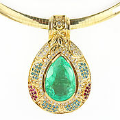Necklace handmade. Livemaster - original item 32.0tcw Colombian Emerald Pear & Diamond Pendant 14k, Sapphire ruby em. Handmade.