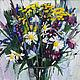 Картина ромашки маслом Полевые цветы Картина полевых цветов в подарок Картина с цветами в интерьер Цветы полевые маслом