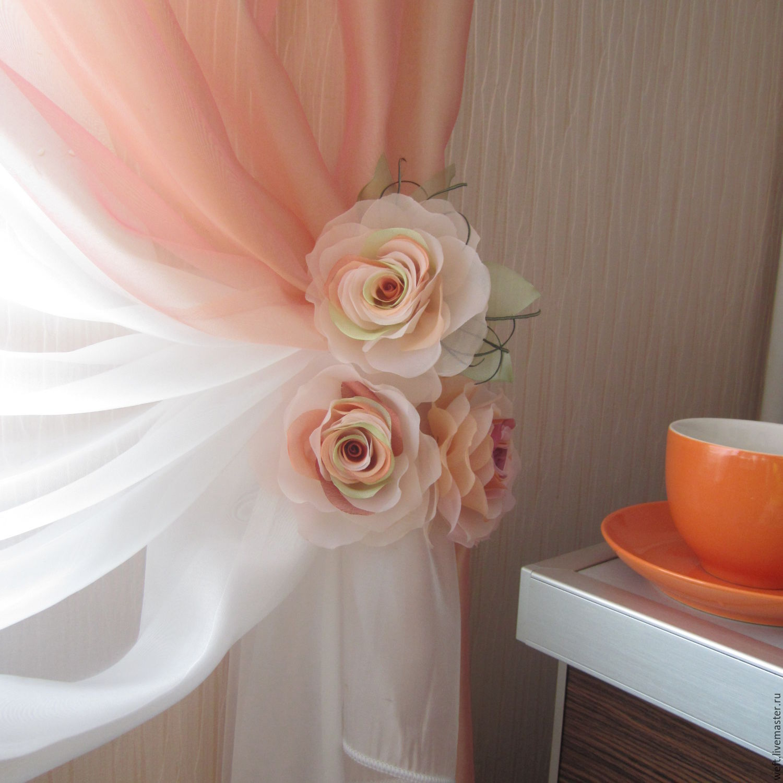 Цветы для штор: мастер класс по изготовлению подхватов для штор 44