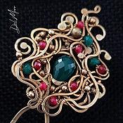 Украшения handmade. Livemaster - original item Hairpin with jade brass stone for hair