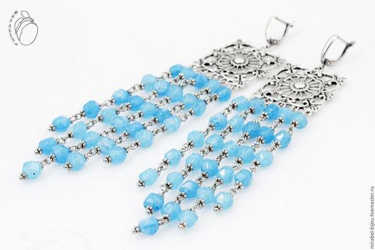 Мирабель-бижутерия. Очень длинные голубые серьги Русалочка с подвесками, кружевные, под серебро, фото. Купить сережки в Москве. Mirabelle. Handmade. Long blue earrings with pendants