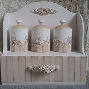 Для дома и интерьера handmade. Livemaster - original item Set for Kitchen Vintage Rose. Shelf and cans for loose products. Handmade.