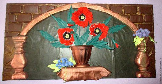 Картины цветов ручной работы. Ярмарка Мастеров - ручная работа. Купить Маки и виноград. Handmade. Комбинированный, натуральная кожа