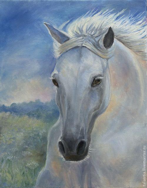 """Животные ручной работы. Ярмарка Мастеров - ручная работа. Купить Картина маслом на холсте """"Белая лошадь"""". Handmade. Картина"""