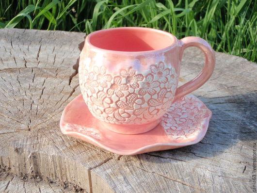 """Сервизы, чайные пары ручной работы. Ярмарка Мастеров - ручная работа. Купить Чайная пара """"Нежность"""". Handmade. Бледно-розовый"""