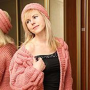 """Одежда ручной работы. Ярмарка Мастеров - ручная работа Вязаный бомбер """"Розовая дымка"""".. Handmade."""