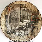 """Посуда ручной работы. Ярмарка Мастеров - ручная работа Тарелка  и часы """"Old LONDON"""". Handmade."""
