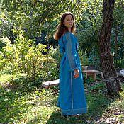 Одежда ручной работы. Ярмарка Мастеров - ручная работа Платье обережное небесно-синее. Handmade.
