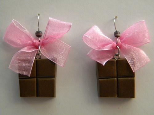 """Подарки для влюбленных ручной работы. Ярмарка Мастеров - ручная работа. Купить серьги""""Шоколадка"""". Handmade. Серьги, модные серьги, пластика, швензы"""