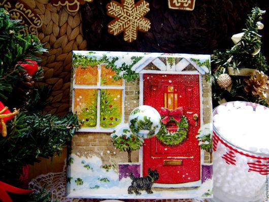 """Новый год 2017 ручной работы. Ярмарка Мастеров - ручная работа. Купить Короб новогодний """"Домой!"""". Handmade. Короб для хранения, собака"""