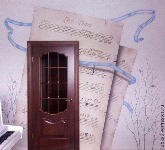 Декор поверхностей ручной работы. Ярмарка Мастеров - ручная работа. Купить Роспись стен в гостиной музыканта. Handmade. Разноцветный