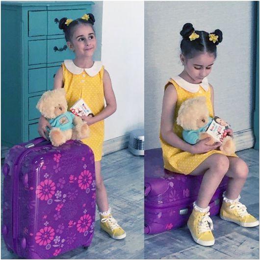 """Одежда для девочек, ручной работы. Ярмарка Мастеров - ручная работа. Купить Сарафан """"Горошки на желтом"""". Handmade. Желтый, горох"""