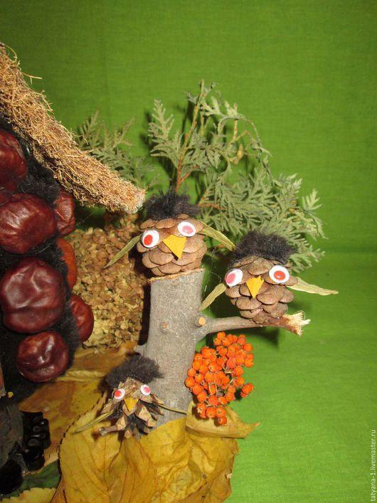 Игрушки животные, ручной работы. Ярмарка Мастеров - ручная работа. Купить Совы из шишки. Handmade. Коричневый, краски осени