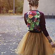 Одежда ручной работы. Ярмарка Мастеров - ручная работа Цветочный свитшот и юбка фатин короткая. Handmade.