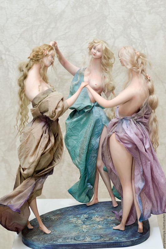 Коллекционные куклы ручной работы. Ярмарка Мастеров - ручная работа. Купить Три грации. Handmade. Комбинированный, коллекционная кукла, трессы