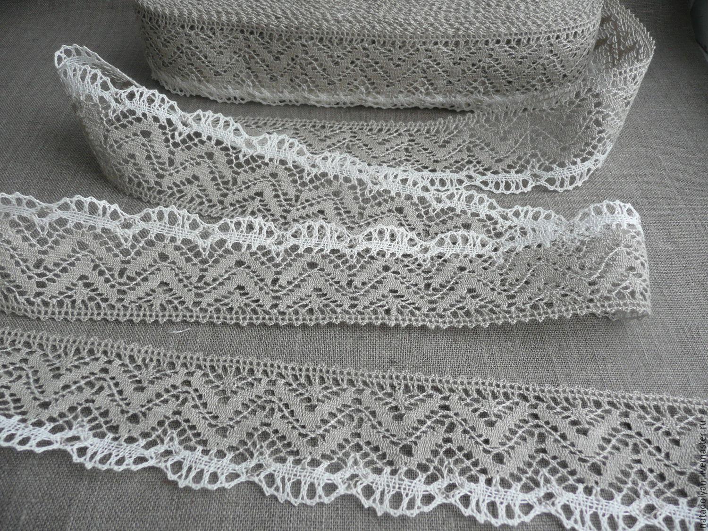"Sewing handmade. Livemaster - handmade. Buy Кружево льняное ""Двухцветное"" 55 мм серое с белым краем.Lace"