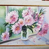 Картины и панно ручной работы. Ярмарка Мастеров - ручная работа Красивые пионы в вазе. Handmade.