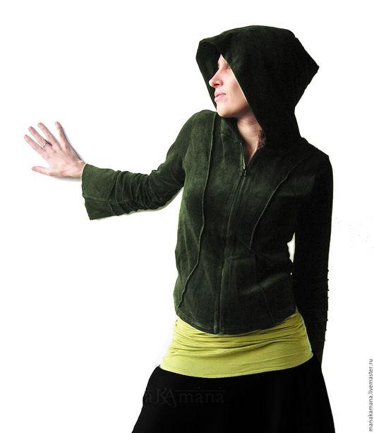 Этническая одежда ручной работы. Ярмарка Мастеров - ручная работа. Купить Темно-зеленая кофта с потайным карманом. Handmade. Эльфы