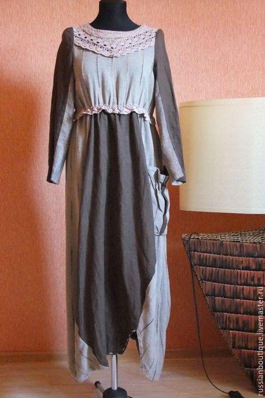"""Одежда. Ярмарка Мастеров - ручная работа. Купить Потрясающее льняное платье """"Легенды осени"""" кружево,лен,джут. Handmade. Комбинированный"""