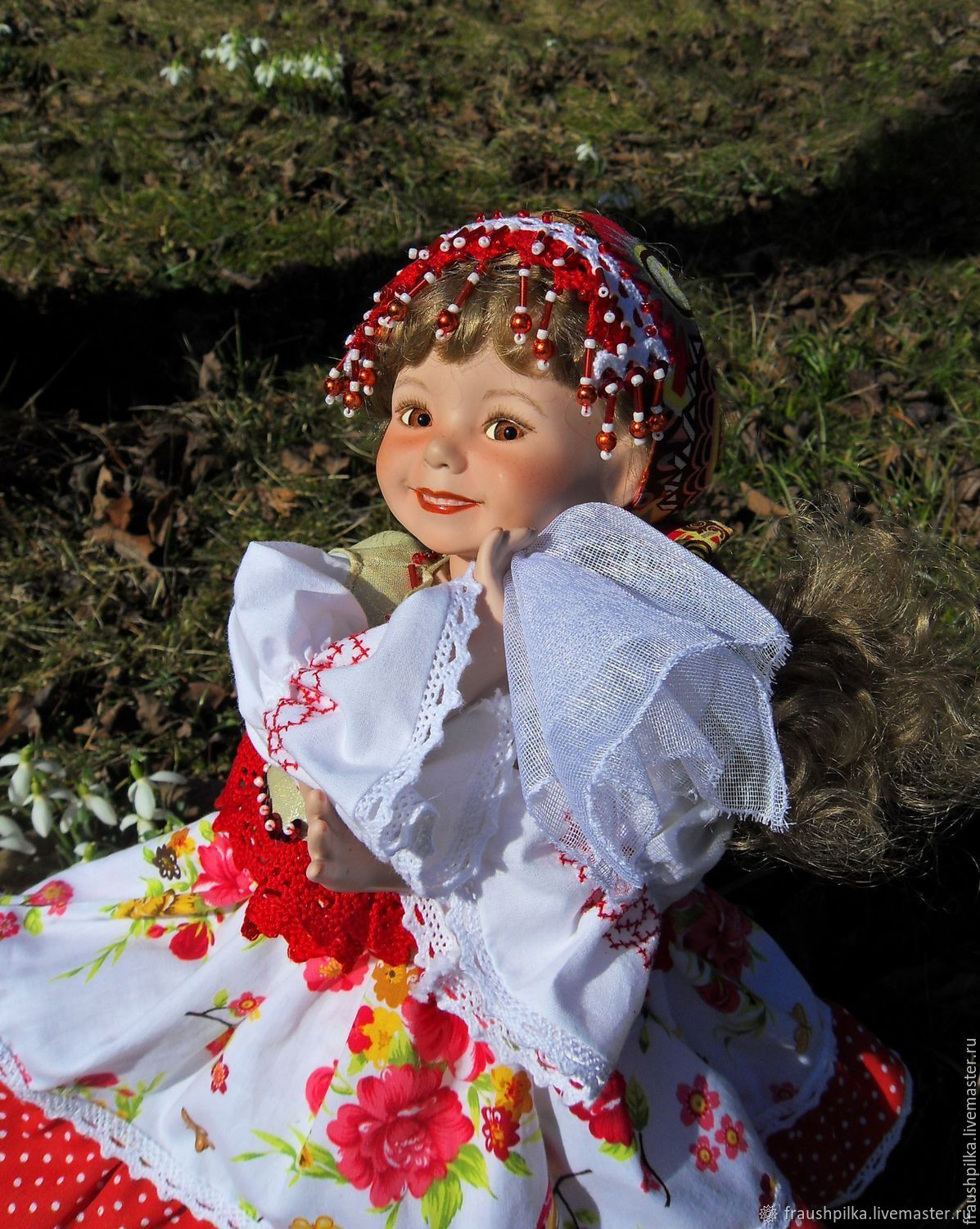 Collectible porcelain doll in the Russian style Spring square dance, Dolls, Kempten,  Фото №1