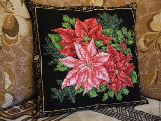 """Текстиль, ковры ручной работы. Ярмарка Мастеров - ручная работа. Купить подушка декоративная """" Новогодняя"""". Handmade. Разноцветный, подарок"""
