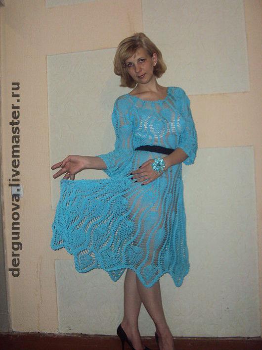 Платья ручной работы. Ярмарка Мастеров - ручная работа. Купить Бирюзовое платье. Handmade. Вязаное платье, хлопок
