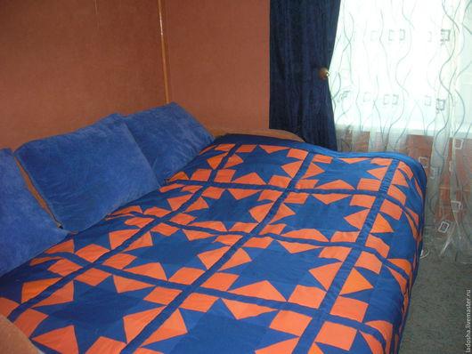 Текстиль, ковры ручной работы. Ярмарка Мастеров - ручная работа. Купить Лоскутное покрывало Звездопад. Handmade. Рыжий, спальня, звезды