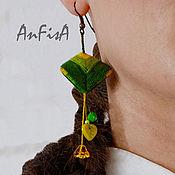 """Украшения ручной работы. Ярмарка Мастеров - ручная работа Серьги """"Пирамидки"""", зелёные. Handmade."""