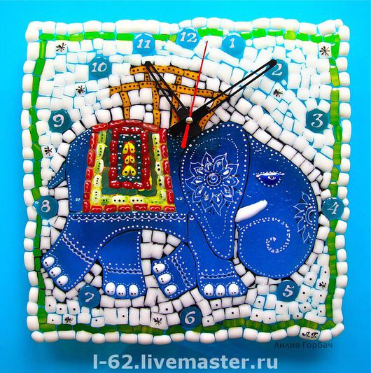 Часы для дома ручной работы. Ярмарка Мастеров - ручная работа. Купить часы из стекла, фьюзинг  Синий слоник. Handmade. Фьюзинг