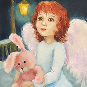 Картины и панно handmade. Livemaster - original item Angel and Bunny Picture for children`s Reproduction. Handmade.