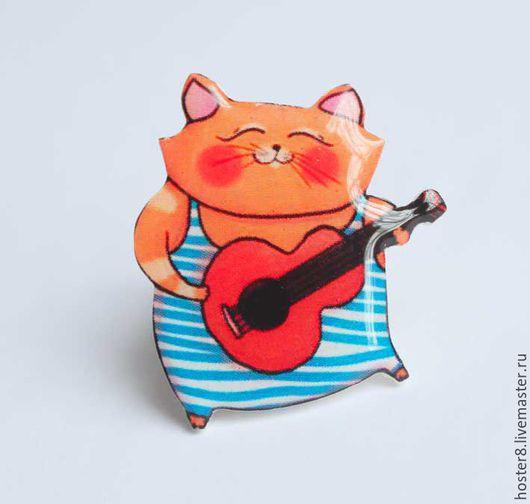 """Броши ручной работы. Ярмарка Мастеров - ручная работа. Купить Брошь """"Котя музыкант"""". Handmade. Синий, коты, кот в подарок"""