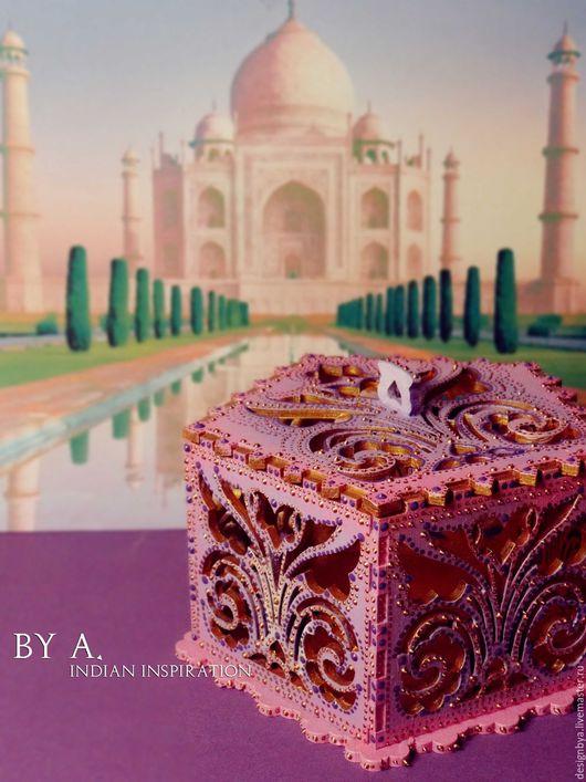 Шкатулки ручной работы. Ярмарка Мастеров - ручная работа. Купить Ажурная розовая шкатулка для украшений точечная роспись индийский. Handmade.