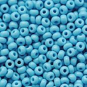 Материалы для творчества handmade. Livemaster - original item 10 grams of 10/0 seed Beads, Czech Preciosa 63020 Premium light blue naprosn. Handmade.