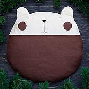 Для дома и интерьера ручной работы. Ярмарка Мастеров - ручная работа Мишка подушка, Декоративная подушка из льна, коричневый медведь. Handmade.