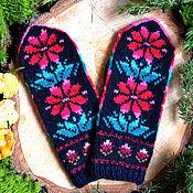 Аксессуары handmade. Livemaster - original item Mittens knitted hand made Flowers. Handmade.