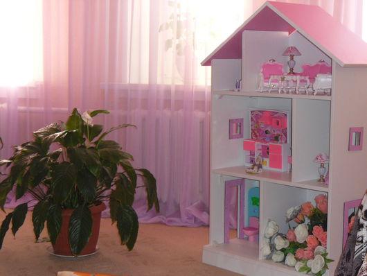 Кукольный дом ручной работы. Ярмарка Мастеров - ручная работа. Купить ДОМИК РОЗОВЫЙ № 8 без мебели. Handmade.
