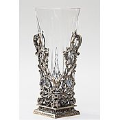 Подарки к праздникам handmade. Livemaster - original item Glass vase with bronze base. Handmade.