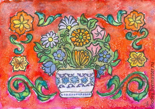 Абстракция ручной работы. Ярмарка Мастеров - ручная работа. Купить Цветы в вазе. Handmade. Ярко-красный, цветы, узор