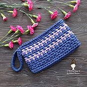"Сумки и аксессуары handmade. Livemaster - original item Knitted clutch bag in ""Indigo"". Handmade."