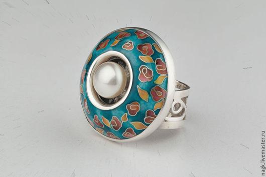 Кольца ручной работы. Ярмарка Мастеров - ручная работа. Купить Кольцо с жемчугом (серебро и эмаль). Handmade. Бирюзовый, маме, Минанкари